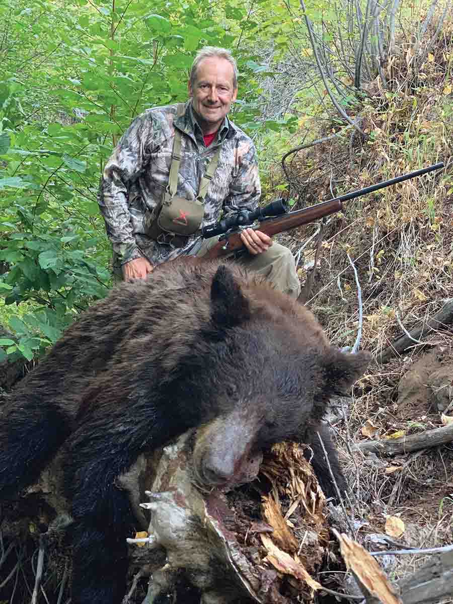 This bear showed at the brush line at last light, watching its backtrail. Gary had ranged the spot moments before. It was shot at 162 yards with a Nosler 190-grain AccuBond Long Range bullet.
